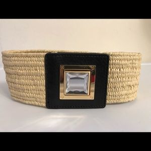Michael Kors Neutral Belt w/ Black/Crystal Buckle